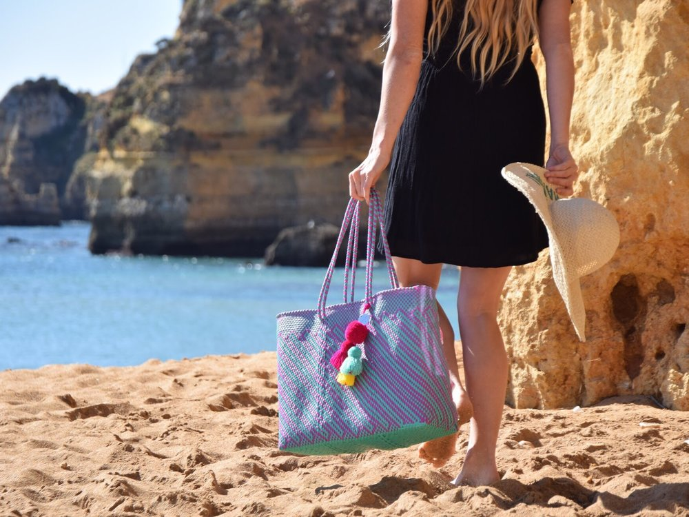 Recycled plastic beach tote bag